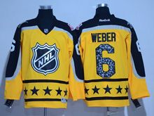 Mens Reebok Montreal Canadiens #6 Shea Weber Yellow 2017 All Star Hockey Jersey
