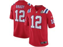 Mens   New England Patriots #12 Tom Brady Red Super Bowl Li Bound Game Jersey