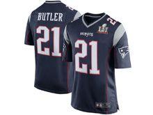 Mens   New England Patriots #21 Malcolm Butler Navy Blue Super Bowl Li Bound Game Jersey