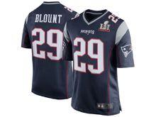 Mens   New England Patriots #29 Legarrette Blount Navy Blue Super Bowl Li Bound Game Jersey