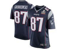 Mens   New England Patriots #87 Rob Gronkowski Navy Blue Super Bowl Li Bound Game Jersey