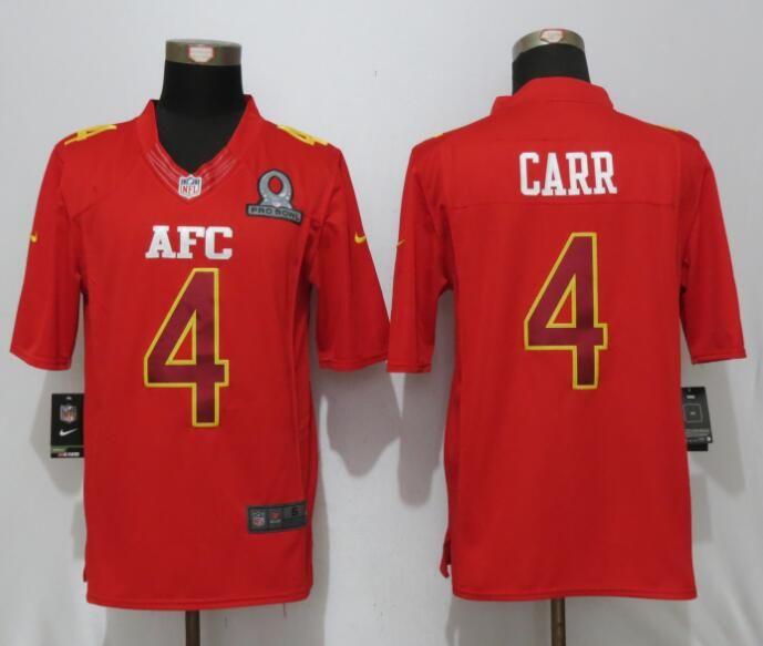 Mens Nfl Oakland Raiders #4 Derek Carr Red (2017 Pro Bowl) Limited Jersey