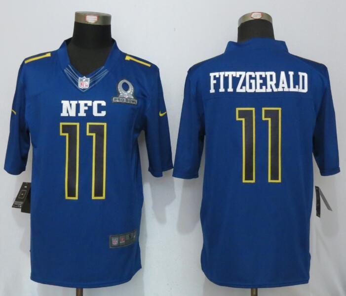 Mens Nfl Arizona Cardinals #11 Larry Fitzgerald Blue (2017 Pro Bowl) Limited Jersey