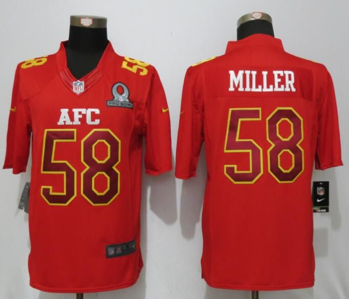 Mens Nfl Denver Broncos #58 Von Miller Red (2017 Pro Bowl) Limited Jersey