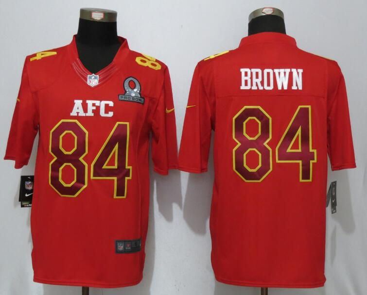 Mens Nfl Pittsburgh Steelers #84 Antonio Brown Red (2017 Pro Bowl) Limited Jersey