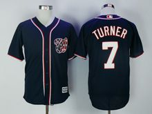Mens Mlb Washington Nationals #7 Trea Turner Dark Blue Cool Base Jersey
