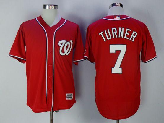 Mens Mlb Washington Nationals #7 Trea Turner Red Cool Base Jersey