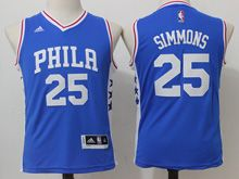 Youth Nba Philadelphia 76ers #25 Ben Simmons Blue Jersey
