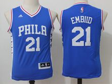 Youth Nba Philadelphia Sixers #21 Joel Embiid Blue Jersey