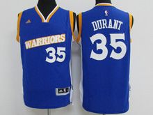 Mens Adidas Golden State Warriors #35 Kevin Durant Royal Blue Stretch Crossover Swingman Jersey