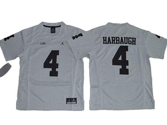 Youth Ncaa Nfl Jordan Brand Michigan Wolverines #4 Jim Harbaugh Gridion Grey Ii Jersey