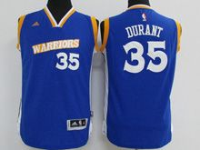 Youth Adidas Golden State Warriors #35 Kevin Durant Royal Blue Stretch Crossover Swingman Jersey