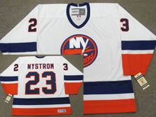 Mens Nhl New York Islanders #23 Bob Nystrom White 1982 Ccm Vintage Throwback Jersey