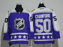 Mens Reebok Chicago Blackhawks #50 Corey Crawford Purple 2017 All Star Hockey Jersey