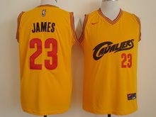 Mens Nba Cleveland Cavaliers #23 Lebron James Yellow Cavs Nike Jersey