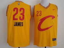 Mens Nba Cleveland Cavaliers #23 Lebron James Yellow Big C Cavs Nike Jersey