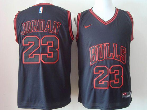 Youth Nba Chicago Bulls #23 Michael Jordan Black Red Characters Nike Jersey