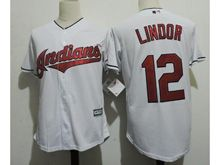 Youth Majestic Mlb Cleveland Indians #12 Francisco Lindor White Cool Base Jersey