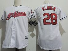 Youth Majestic Mlb Cleveland Indians #28 Corey Kluber White Cool Base Jersey