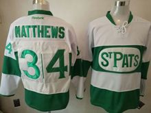 Mens Reebok Nhl Toronto Maple Leafs Stpats #34 Auston Matthews White Green Ice Jersey