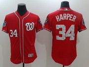 Mens Majestic Washington Nationals #34 Bryce Harper Red 2017 Spring Training Flex Base Jersey