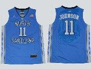 Mens Ncaa Nba North Carolina #11 Johnson Blue Jersey