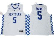 Mens Ncaa Nba Kentucky Wildcats #5 Malik Monk White College Basketball Jersey