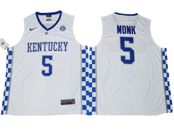 Mens Ncaa Nba Kentucky Wildcats #5 Malik Monk White College Basketball Jersey