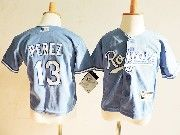 Kids Mlb Kansas City Royals #13 Salvador Perez Light Blue Jersey