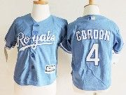 Kids Mlb Kansas City Royals #4 Alex Gordon Light Blue Jersey