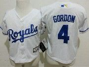Kids Mlb Kansas City Royals #4 Alex Gordon White Jersey