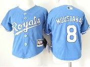 Kids Mlb Kansas City Royals #8 Mike Moustakas Light Blue Jersey