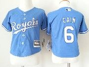 Kids Mlb Kansas City Royals #6 Lorenzo Cain Light Blue Jersey