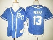 Kids Mlb Kansas City Royals #13 Salvador Perez Light Blue Kc Jersey