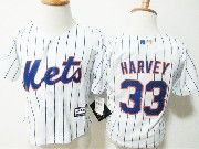 Kids Majestic Mlb New York Mets #33 Matt Harvey White Stripe Jersey