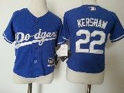 Kids Majestic Mlb Los Angeles Dodgers #22 Clayton Kershaw Blue Jersey