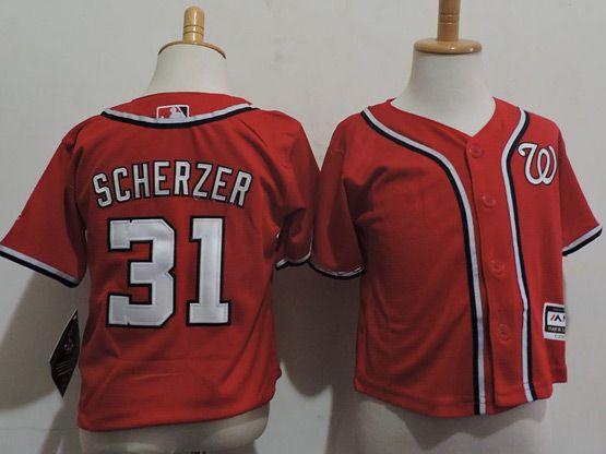Kids Mlb Majestic Washington Nationals #31 Max Scherzer Red Jersey
