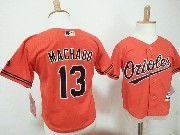 Kids Mlb Majestic Baltimore Orioles #13 Manny Machado Orange Jersey