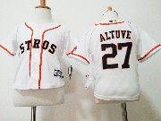 Kids Mlb Majestic Houston Astros #27 Jose Altuve White Jersey