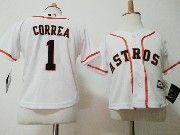 Kids Mlb Majestic Houston Astros #1 Carlos Correa White Jersey