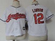 Kids Majestic Mlb Cleveland Indians #12 Francisco Lindor White Jersey