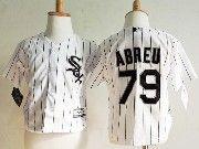 Kids Mlb Majestic Chicago White Sox #79 Jose Abreu White Stripe Jersey