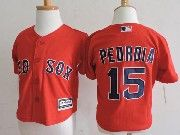 Kids Mlb Majestic Boston Red Sox #15 Dustin Pedroia Red Jersey