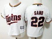 Kids Mlb Majestic Minnesota Twins #22 Miguel Sano White Jersey