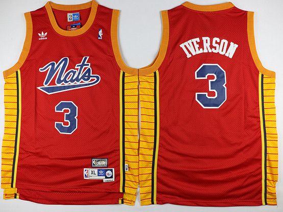 ... Mens Nba Philadelphia 76ers 3 Allen Iverson Nats Red Basketball Jersey  3 Authentic ... 2bcfde4c9