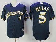 Mens Mlb Milwaukee Brewers #5 Jonathan Villar Navy Blue Cool Base Baseball Jersey