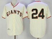 Mens Mlb San Francisco Giants #24 Willie Mays Cream Cool Base Throwback Baseball Jersey