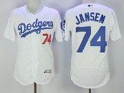 Mens Majestic Los Angeles Dodgers #74 Kenley Jansen White Flex Base Baseball Jersey