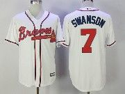 Mens Majestic Mlb Atlanta Braves #7 Dansby Swanson White Cool Base Baseball Jersey