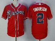 Mens Majestic Mlb Atlanta Braves #2 Swanson Red Cool Base Baseball Jersey